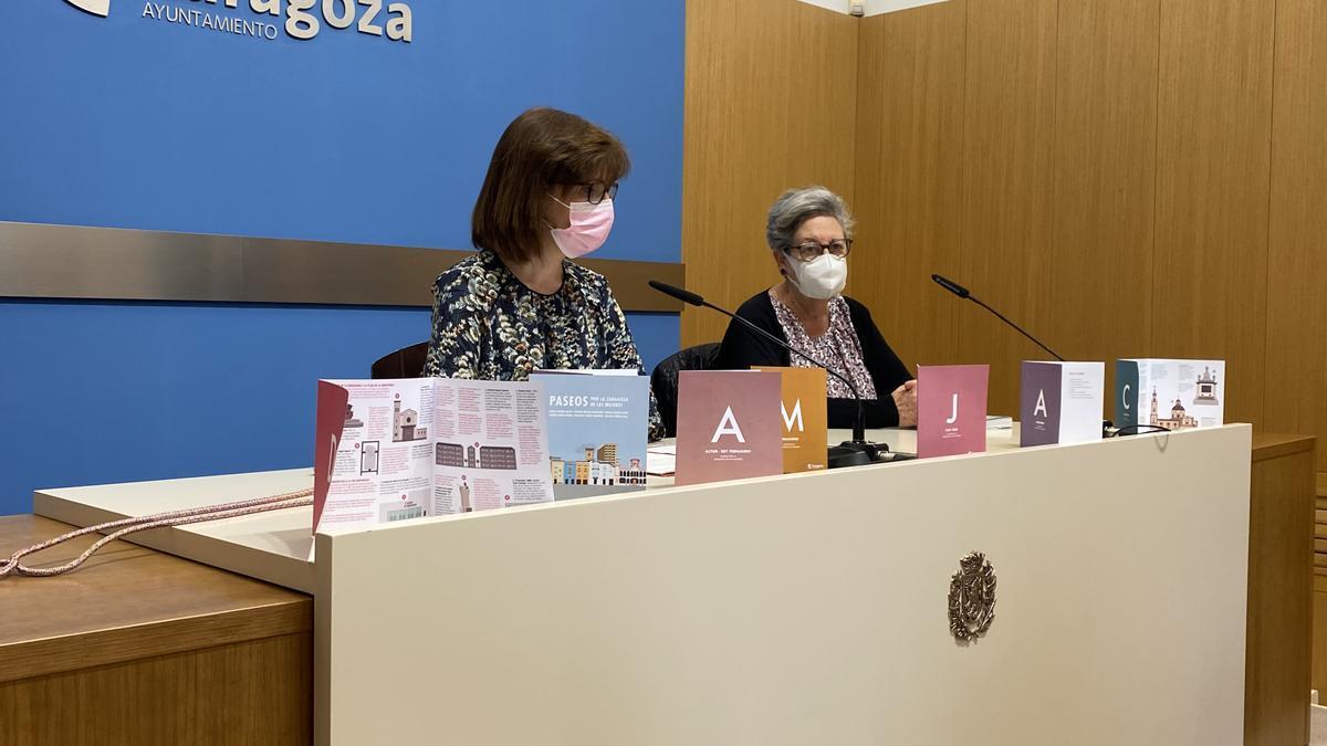 La concejal de Mujer del Ayuntamiento de Zaragoza, María Antoñanzas, y la filósofa Inocencia Torres.