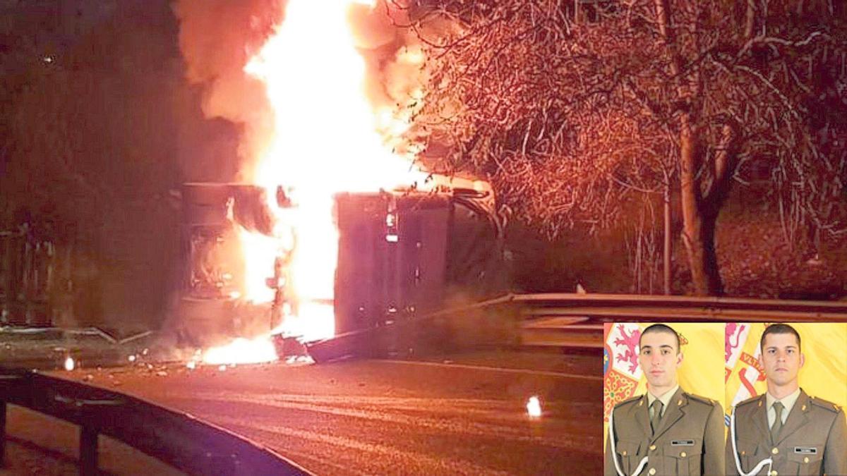 Sergio Torres y Juan Ramos sacaron al conductor justo antes de que el camión explotara.