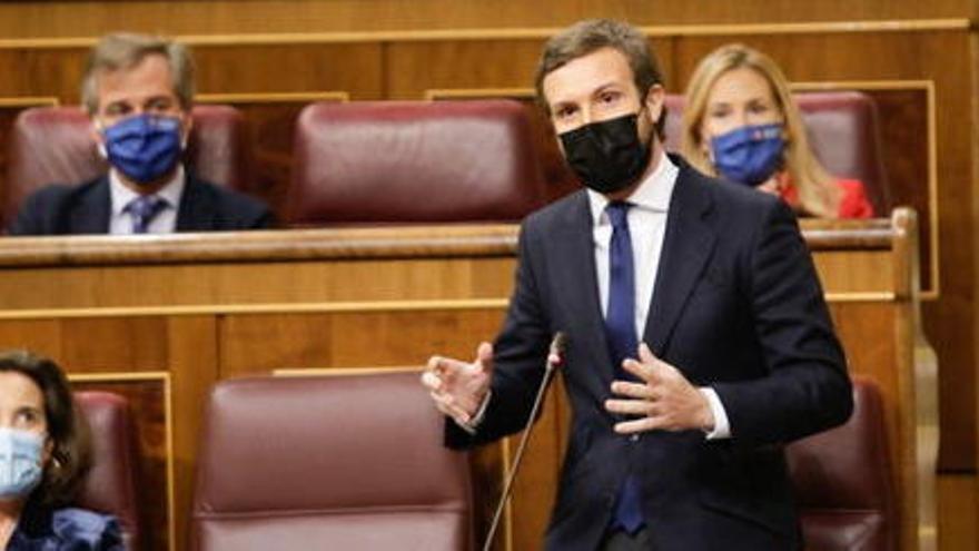 """Casado anuncia el 'no' del PP a la moció de censura de Vox: """"Fins aquí hem arribat"""""""