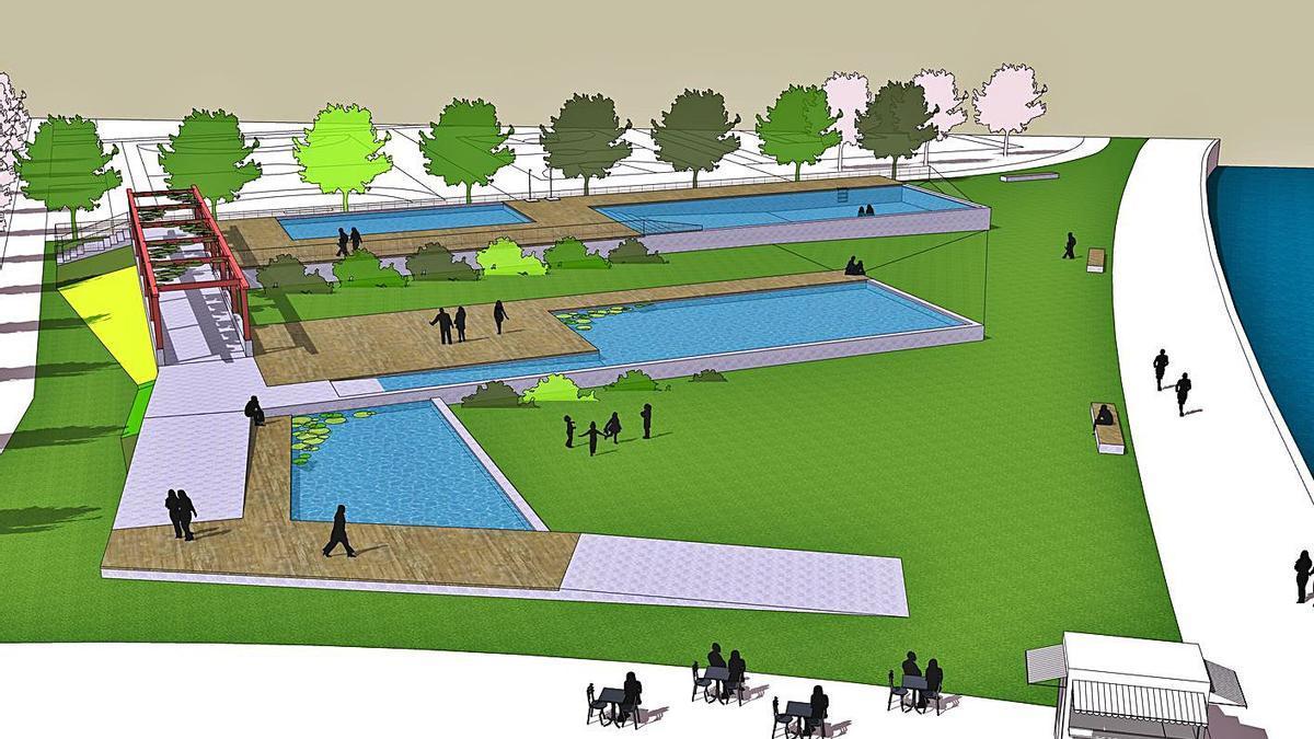Recreación del área de piscinas en el paseo marítimo de Sada.  | // CONCELLO DE SADA