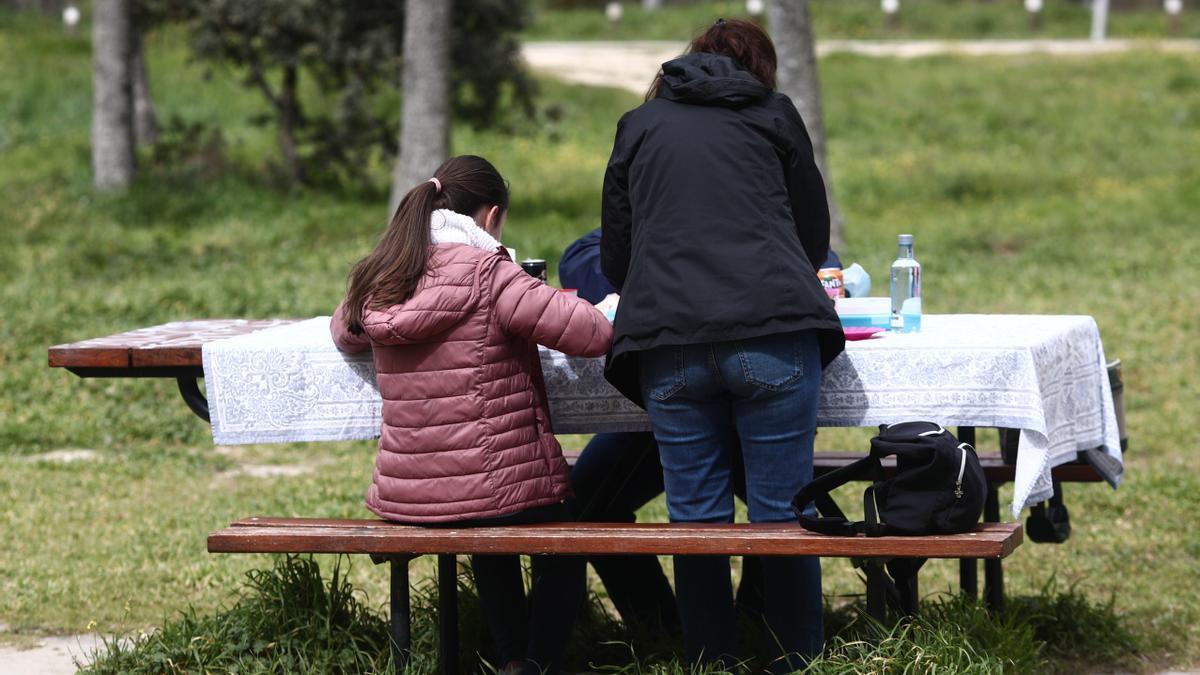 Una familia de picnic.