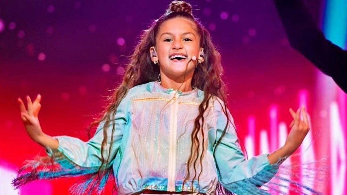 La representante de España, Soleá Fernández, durante la actuación. |   // RTVE