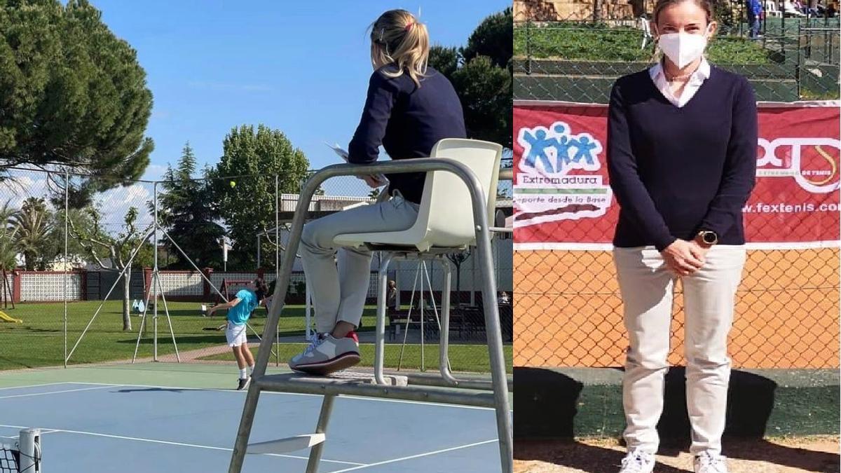Soledad Fernández, ejerciendo su profesión de jueza de silla de tenis y posando.