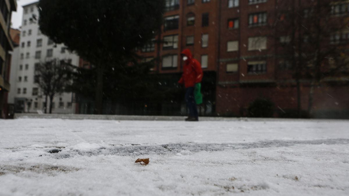 Una persona camina entre la nieve.