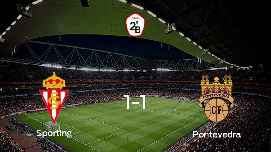 El Sporting B y el Pontevedra mantienen un pulso igualado por la Segunda Fase de Segunda B (1-1)