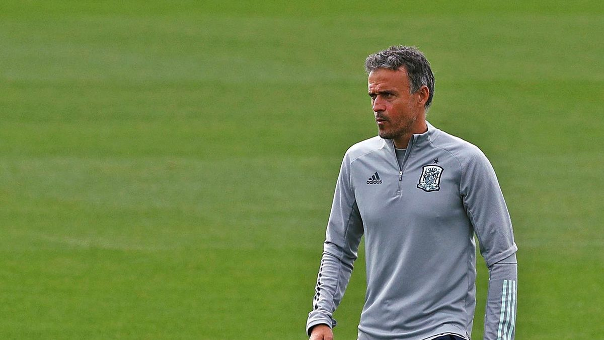 Luis Enrique, durante el entrenamiento celebrado ayer por la selección en Las Rozas.    // EUROPA PRESS