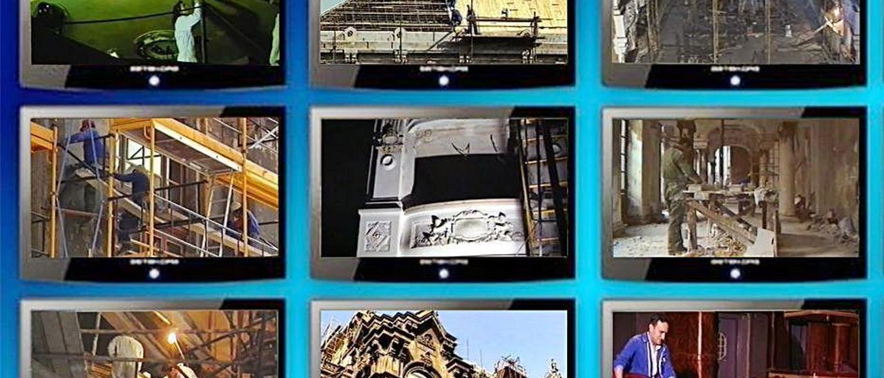 """Imágenes del documental """"El final del entreacto"""", de Juan Carlos De la Madrid, que recoge el proceso de restauración del teatro."""