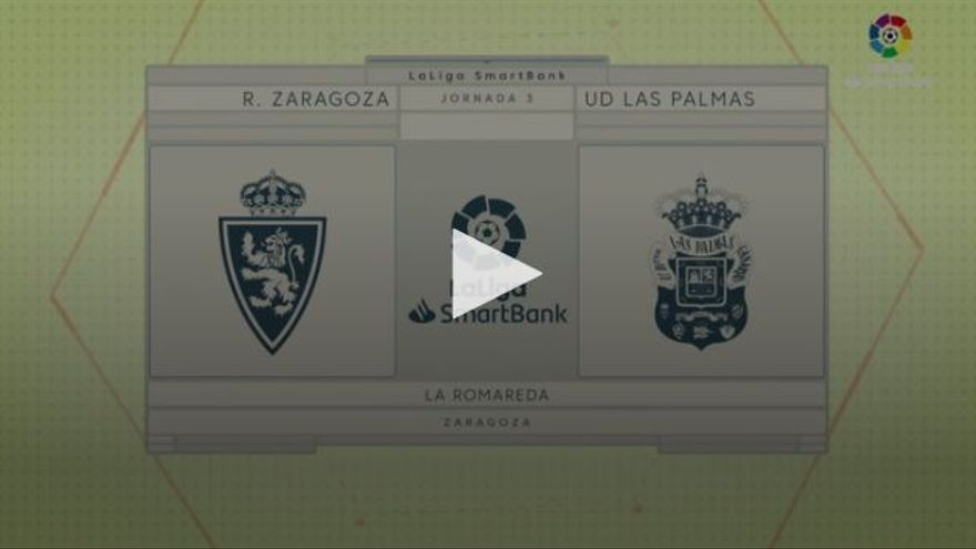 Vídeos de los goles y resumen del Real Zaragoza 2 - 2 UD Las Palmas