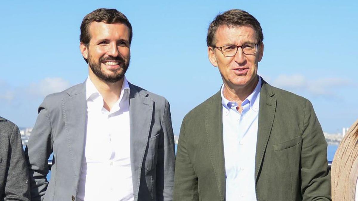 Casado y Feijóo, juntos en una visita del primero a Galicia