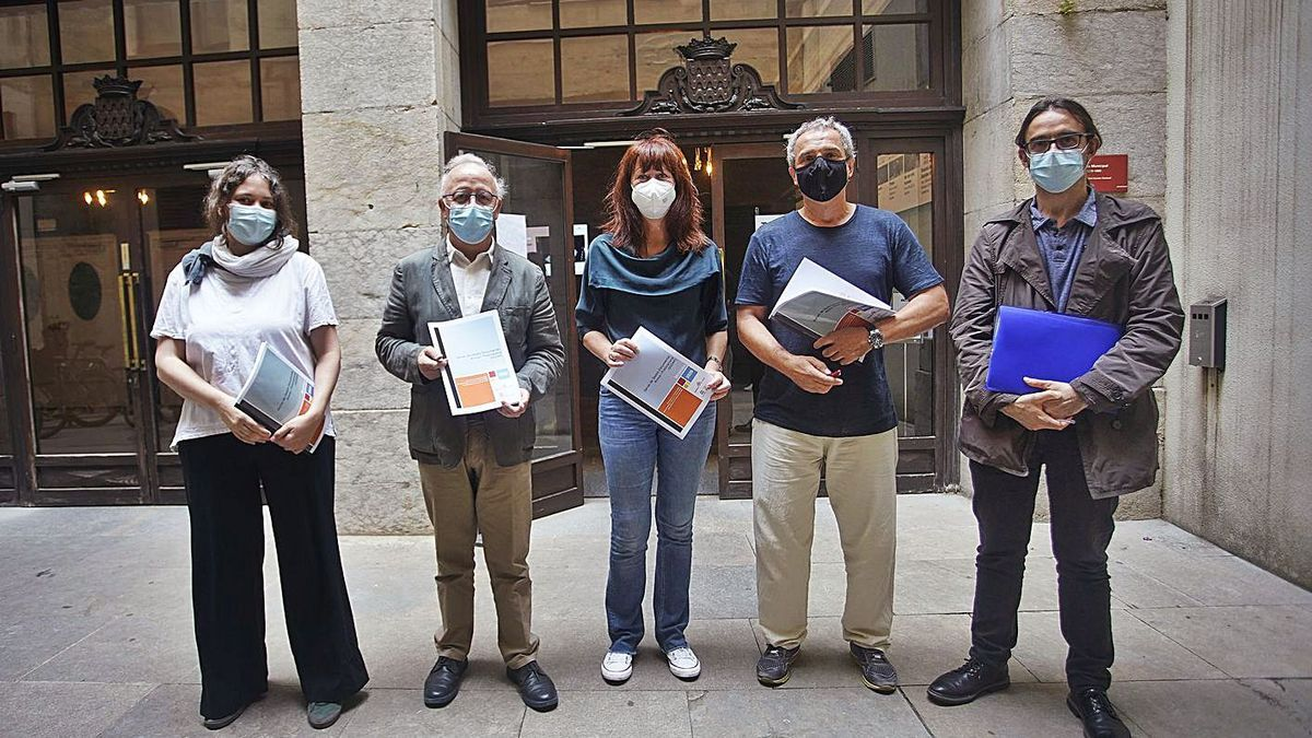 Gironella, Boadas, Madrenas, Casellas i Iglésias, a la roda de premsa d'ahir a l'Ajuntament