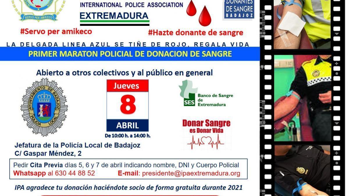 La Policía Local de Badajoz se suma al primer Maratón Policial de Donación de Sangre