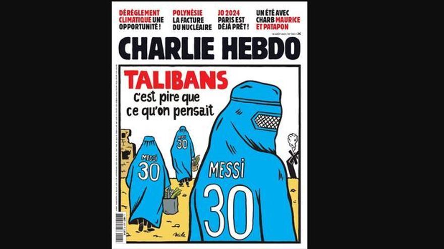 Afganistán, talibanes y Messi: la polémica portada de 'Charlie Hebdo'
