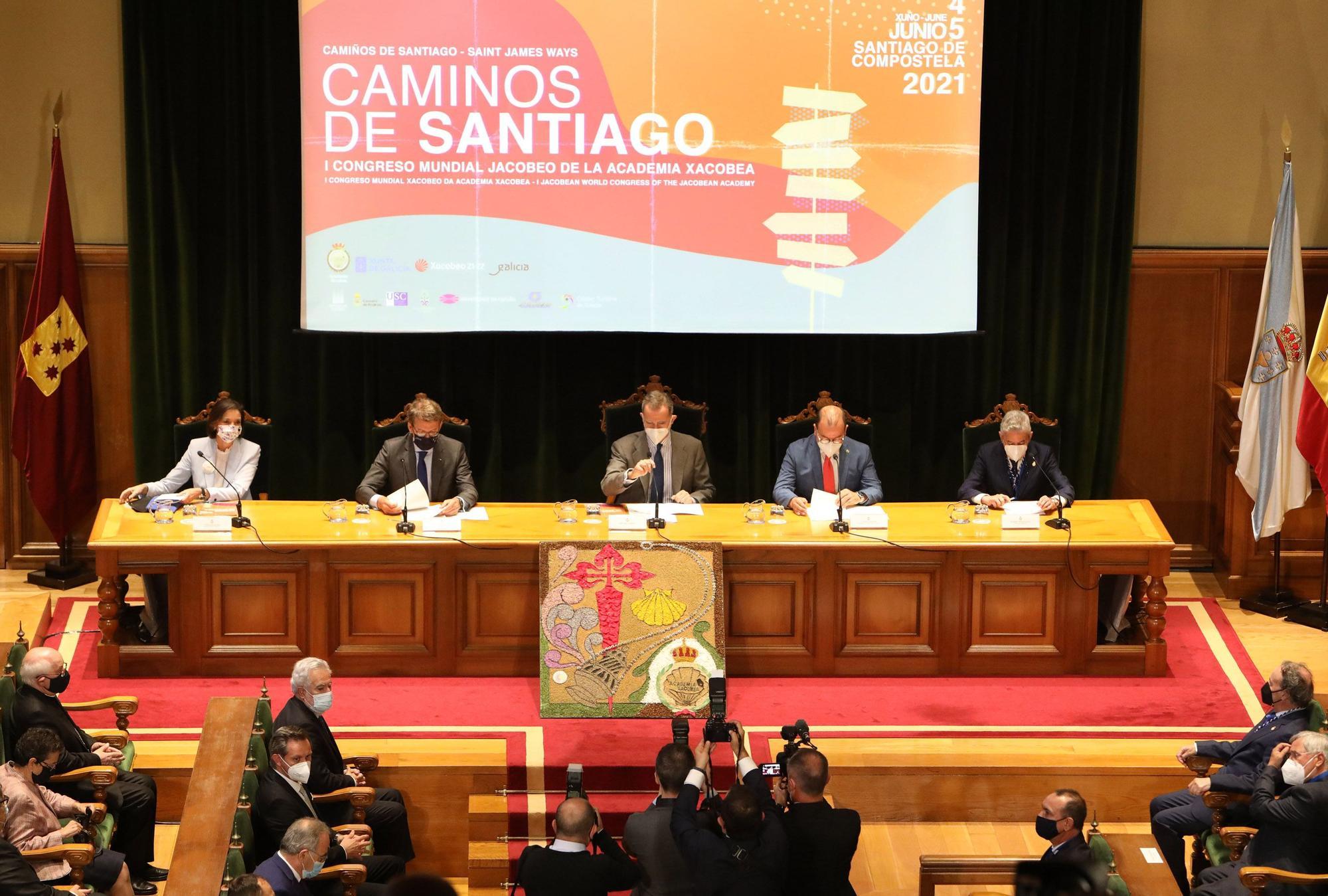 El rey Felipe VI inaugura el I Congreso Mundial Xacobeo en Santiago