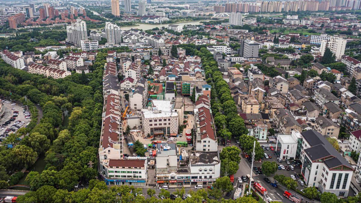 La zona del hotel derrumbado en China.