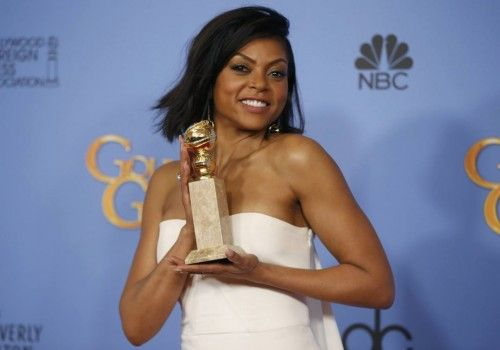 "Taraji P. Henson poses with the award for Best Performance by an Actress In A Television Series - Drama for her role in ""Empire"" backstage at the 73rd Golden Globe Awards in Beverly Hills"