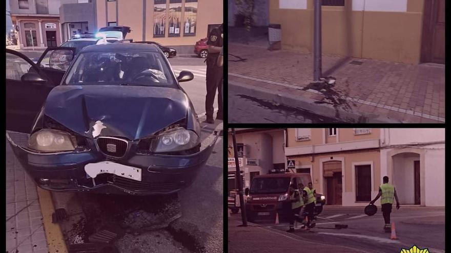 Un conductor que triplicaba la tasa de alcohol estrella su coche en Ondara