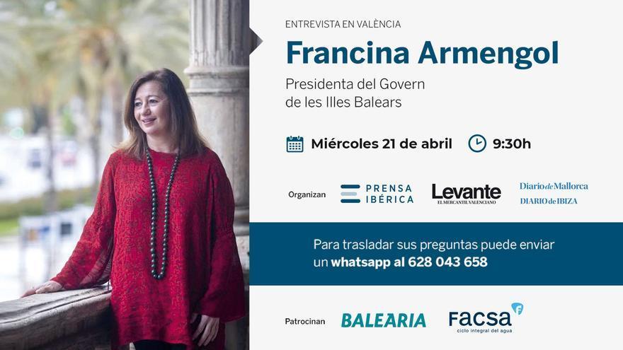 Entrevista en València a Francina Armengol, Presidenta del Govern de les Illes Balears