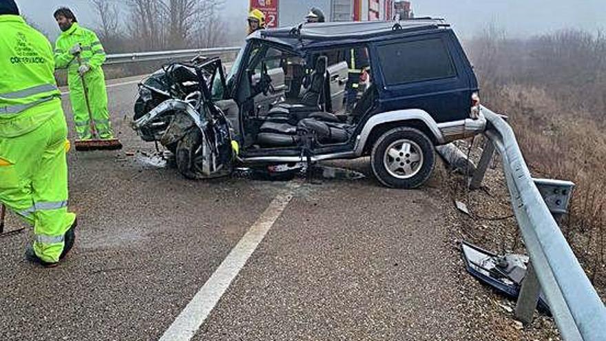 Accidente ocurrido el pasado jueves en Arcillera, donde resultó herido el fallecido de ayer.