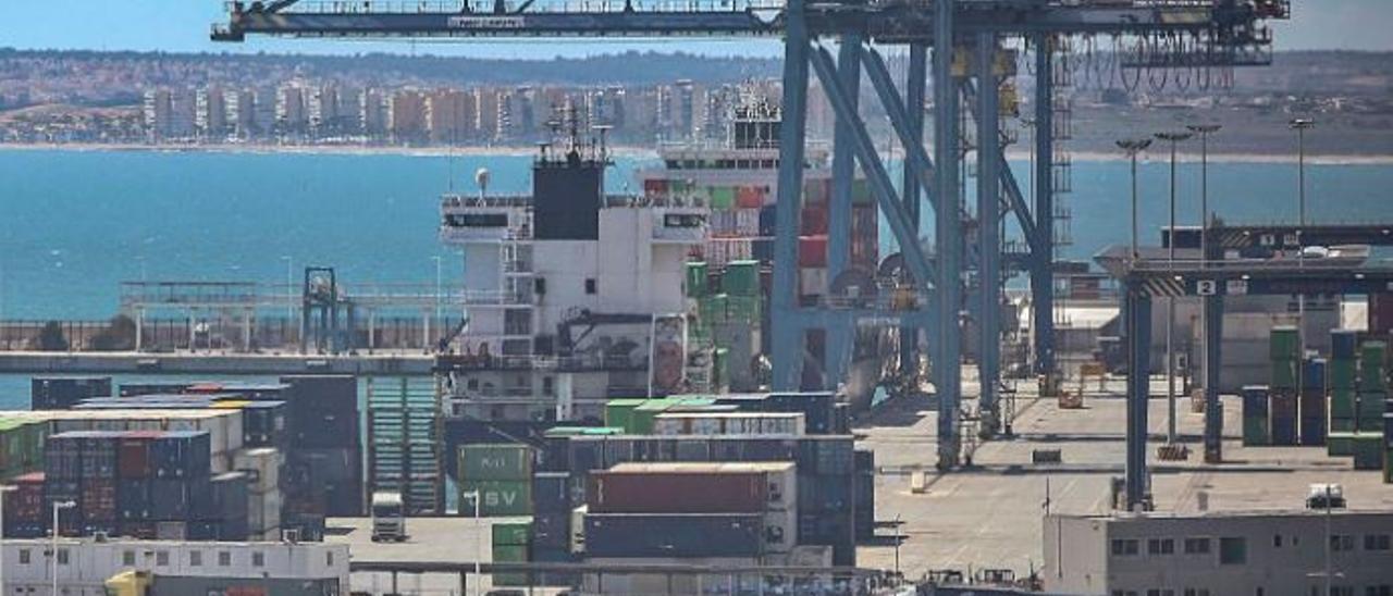 Vista general de la zona logística del puerto de Alicante.