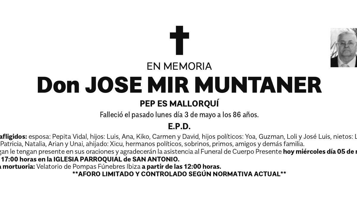 Esquela José Mir Muntaner
