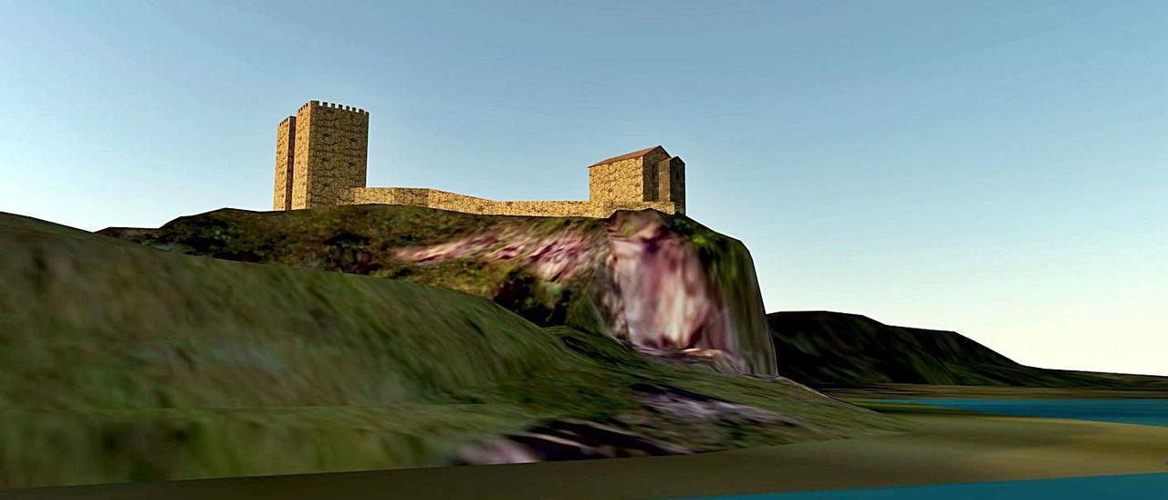 Recreación de las torres del castillo de Gauzón.