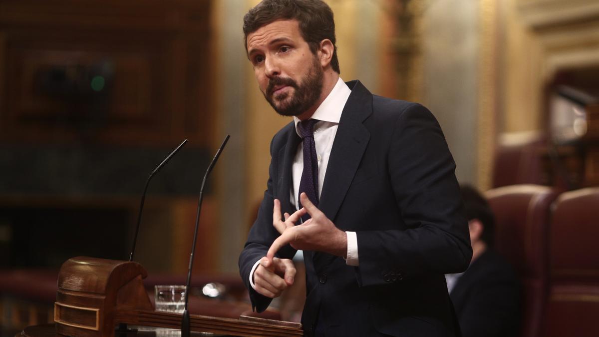 Una imagen de Pablo Casado durante su intervención en el Congreso.