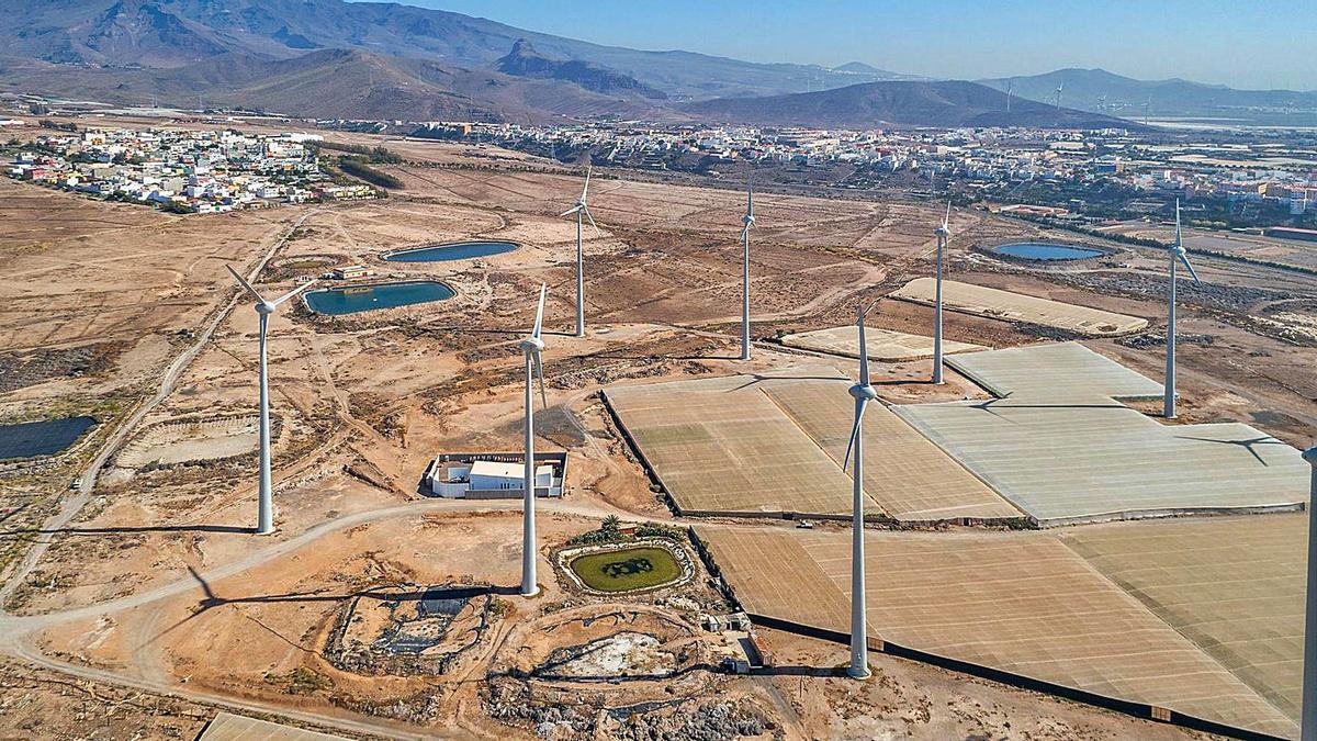 Imagen aérea de unas instalaciones eólicas ubicadas en el Archipiélago.