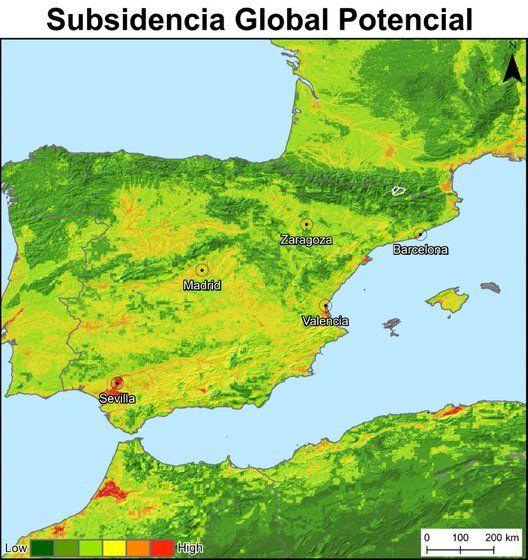 Mapa de subsidencia en España