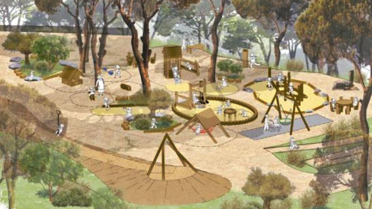 Imagen del proyecto de parque de aventuras en el bosque de Bellver.