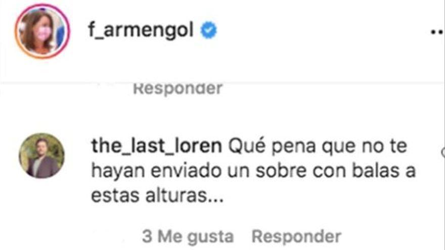 Armengol denuncia que ha recibido amenazas en redes sociales