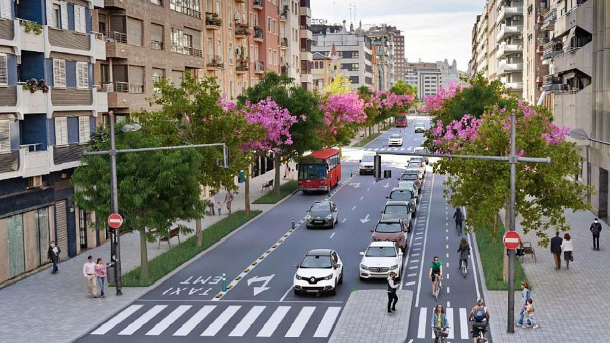 Figuración de la reconversión de la avenida del Puerto, actualmente con cinco carriles de tráfico, en paseo al mar «verde» | LEVANTE-EMV