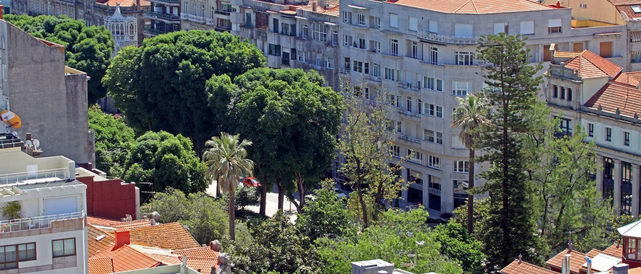 Vista de la Plaza de Compostela en Vigo.