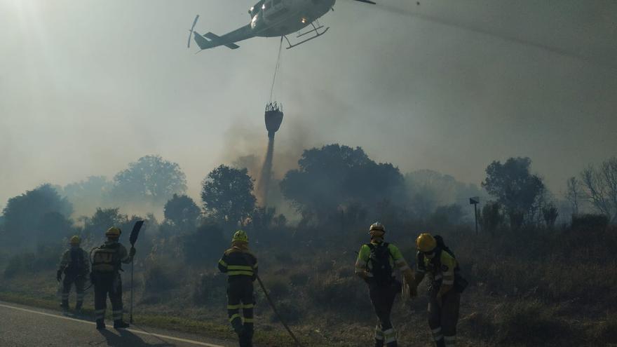 Un incendio forestal se extiende por Moralina de Sayago