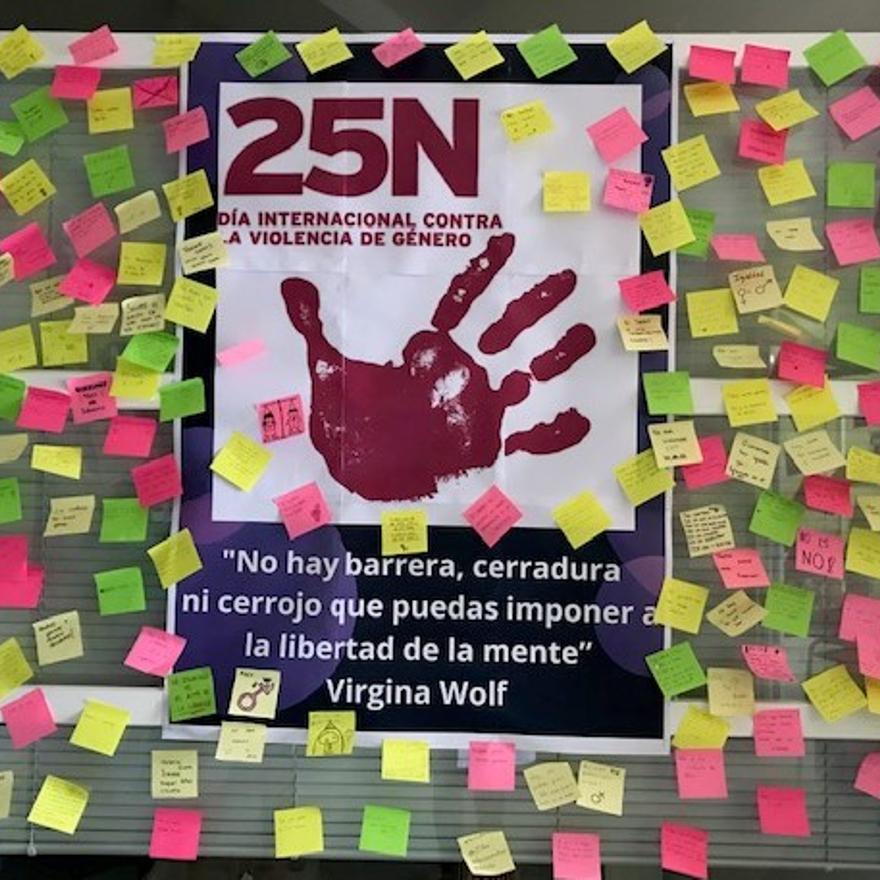 Mural contra la violencia de género en el IES Tierra de Campos.