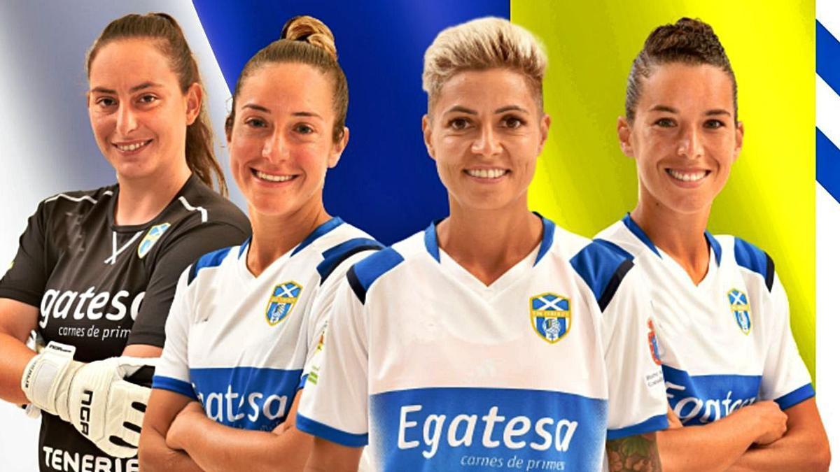 Pili González, Ana González, María José Pérez y Silvia Doblado continuarán un año más en el club azul y blanco.