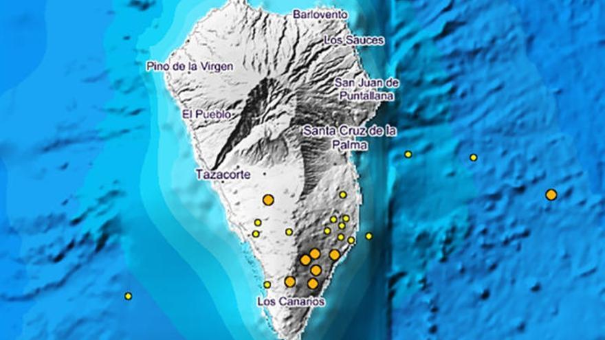 Aumenta hasta 23 terremotos el enjambre sísmico de La Palma