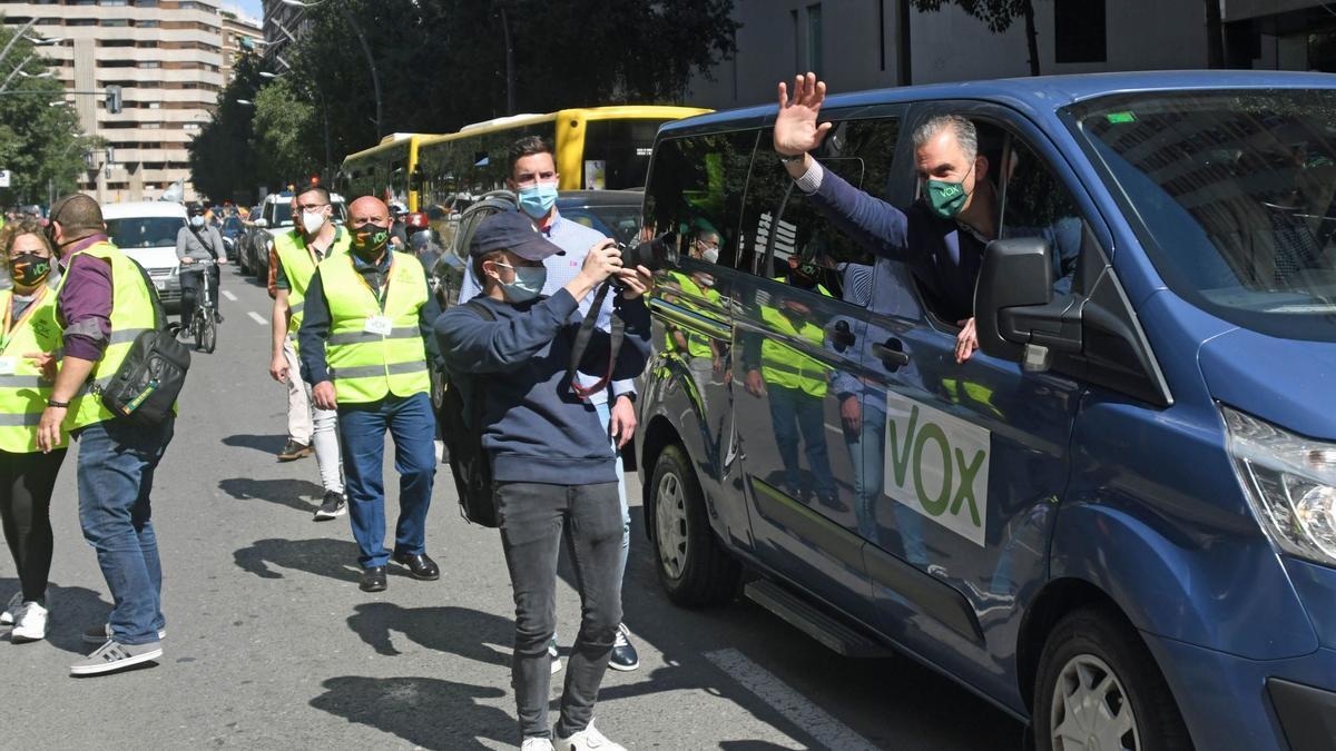 Javier Ortega Smith, en la marcha de Vox en Murcia.