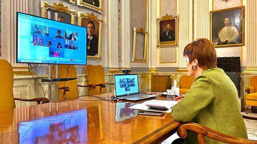 La rectora de la UV, Mavi Mestre, durante la reunión telemática, ayer. | LEVANTE-EMV