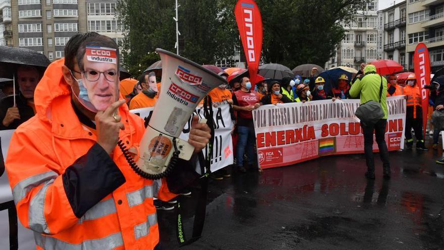 Protesta de los trabajadores de la antigua Alcoa en A Coruña