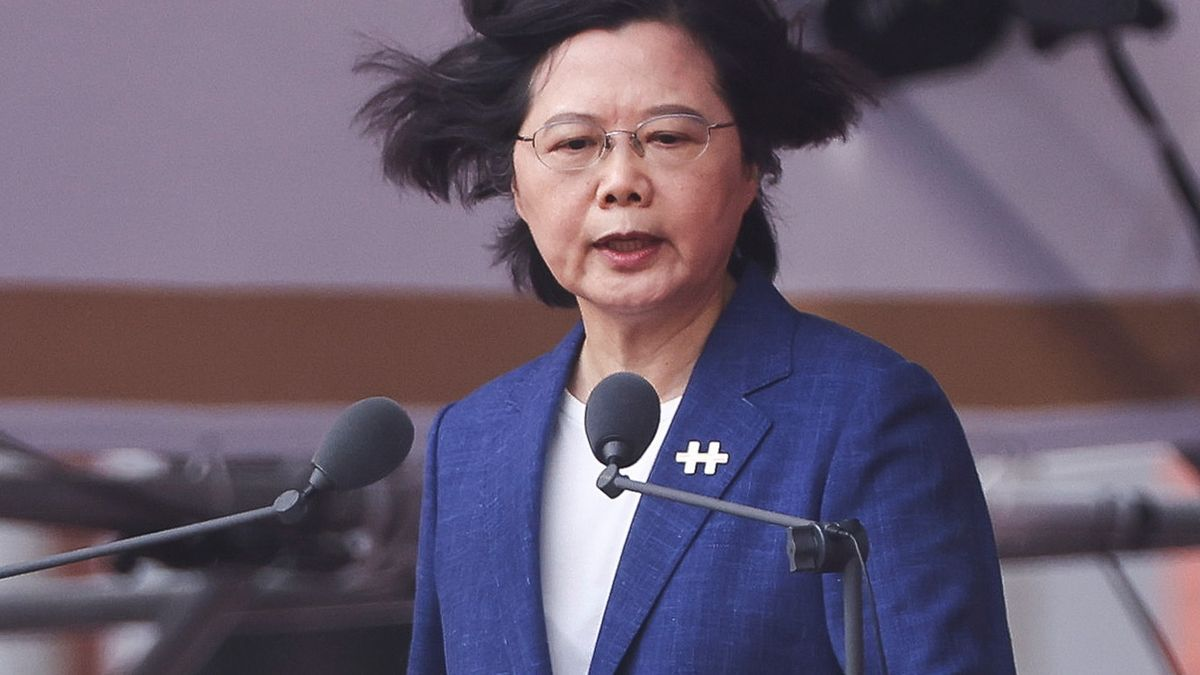 La presidenta de Taiwán, Tsai Ing-wen, durante las celebraciones
