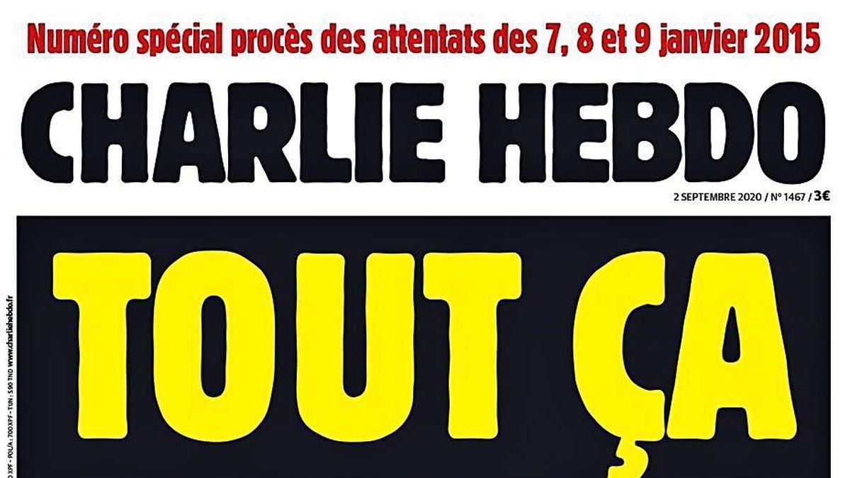"""""""Todo aquello por esto"""". Portada del número de hoy de """"Charlie Hebdo"""", en el que publica las viñetas de Mahoma, coincidiendo con el inicio del juicio."""