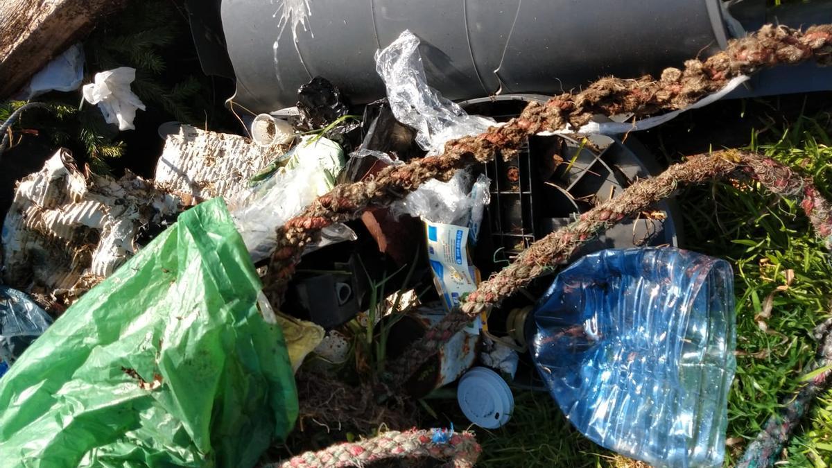 Los voluntarios retiraron de la costa de A Toxa una gran cantidad de basura.