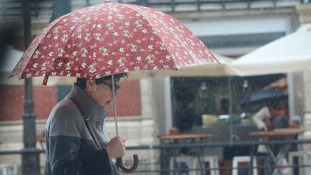 Una mujer pasea bajo su paraguas en el centro de Málaga.