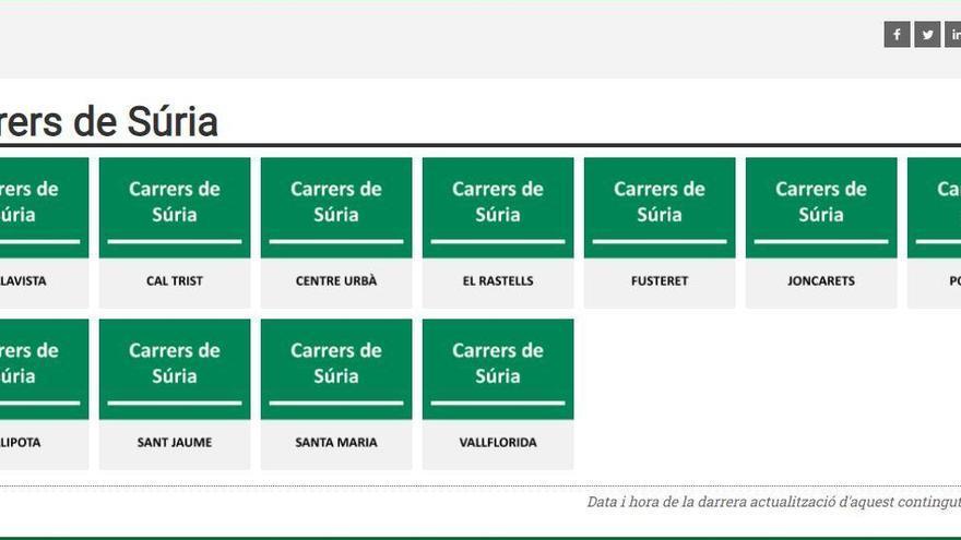 Súria incorpora un nou apartat al web municipal dedicat a divulgar l'origen dels carrers de la vila