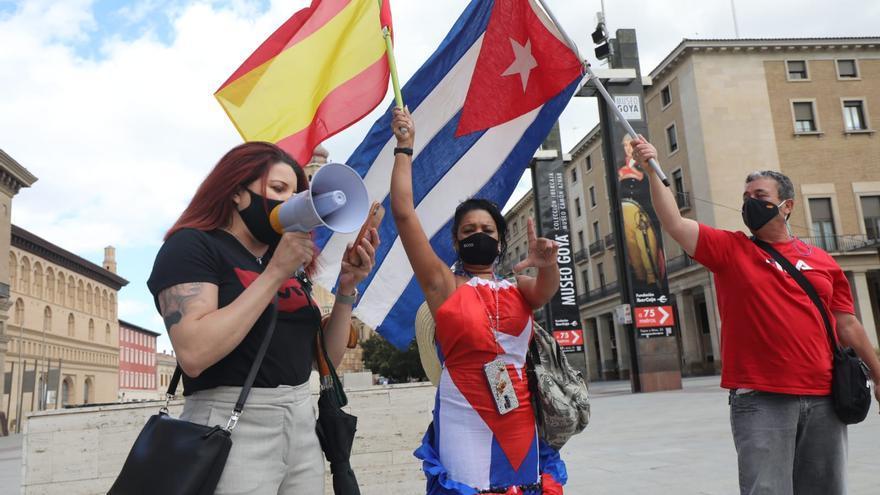 La comunidad cubana de Zaragoza se manifiesta a raíz las protestas en el país
