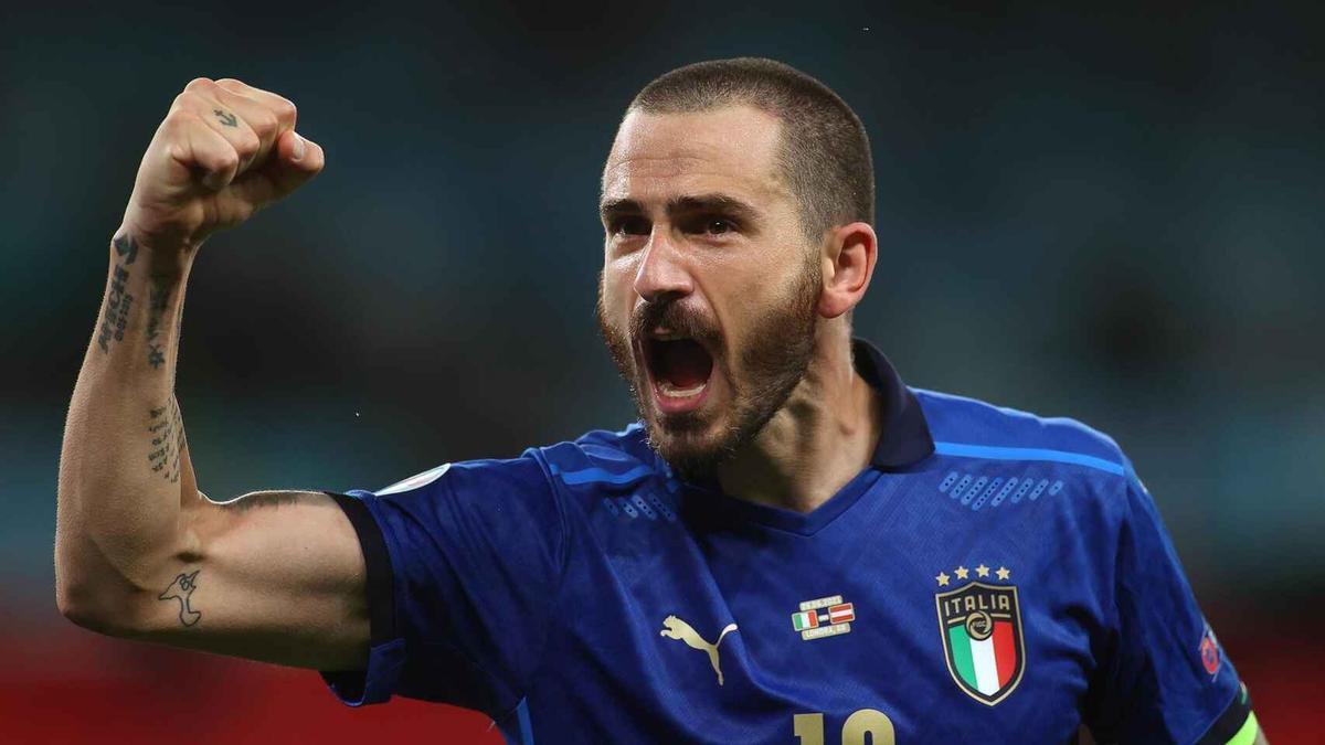 Leonardo Bonucci, celebrando un tanto de la selección italiana en un encuentro de la Eurocopa 2020.