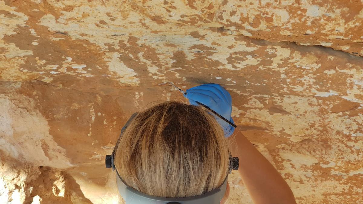 Los trabajos de consolidación de las pinturas rupestres de la Cova del Mançano