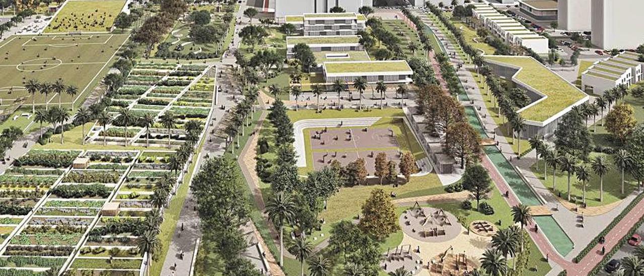 Terrenos del PAI de Benimaclet en una figuración. | LEVANTE-EMV