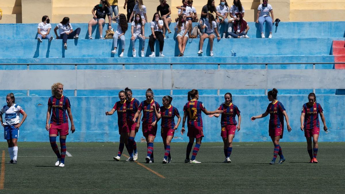 El Barça celebra ante el Granadilla Tenerife