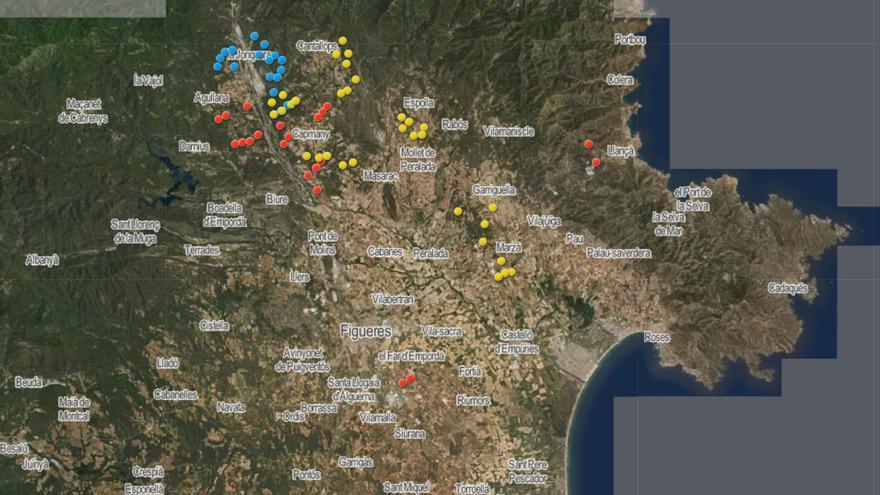 Projecten tres nous parcs eòlics amb 21 molins a Cantallops, Espolla, Sant Climent, Pedret i Marzà i Garriguella